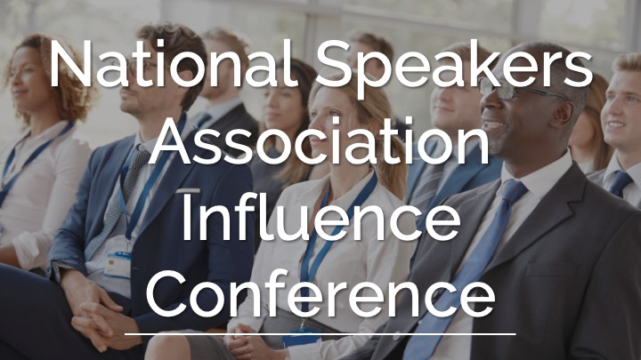 An image showing a people listening to the speaker as a background with the Word National Speakers Association Influence Conference