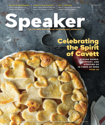An image of a magazine type cover featuring a pie
